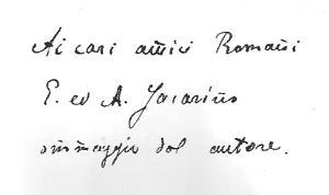 Dédicace de N.Gorboff A mes chers amis romains, E et A Jaccarino, hommage de l'auteur. Archives familiales(c)